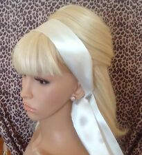 IVORY SATIN HAIR SCARF HEAD BAND NECK TIE 50s CHIC VINTAGE STYLE SELF TIE BOW