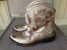 ASH Gold Distressed Leather JUDY Ankle Boots Sz 38 US 7.5 Retail $350