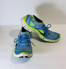 Nike Free 5.0 Flyknit Electric Blue Green Running Shoe Men's Size 13