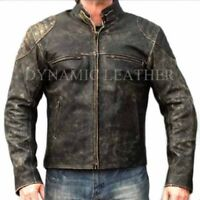 Mens Motorcycle Distressed Hooligan Leather Jacket Bikers Casual Fashion Vintage