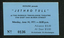 1971 Jethro Tull unused full concert ticket Phoenix AZ Aqualung Ian Anderson