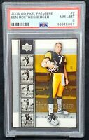 2004 Upper Deck Premiere Future HOF Steelers BEN ROETHLISBERGER RC Card PSA 8