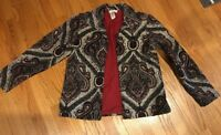 COLDWATER CREEK Tapestry Paisley Onyx Beaded Womens Jacket Blazer Coat Size M #