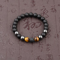 Fashion 10mm Black Onyx+Lava+Hematite+Tigers Eye Gemstone Men's Beaded Bracelets