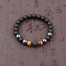 Fashion 10mm Black Onyx+Lava+Hematite+Tigers Eye Gemstone Men's Beaded Bracelets
