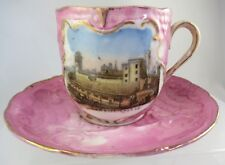Cardiff Castle Pictorial Souvenir Cup and saucer (late 19thC)