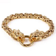 Stainless Steel Byzantine Chain Bracelet Bangle Punk 18K Gold Mens Wolf Head