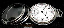 Over Crown Pocket Watch Burlington Special Antique 19 Jewels Display Case Bar