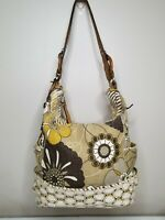 Fossil Flower Hobo Canvas Brown Leather &Wood Trim Handbag With Metal Key Nice!