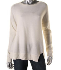 Womens J Brand Cloud Cream Wool/Cashmere L/S Ribbed Trim Pullover Sweater S