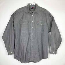 9c1ba8f9fee Vintage Tommy Hilfiger Camisa para hombre Manga larga Houndstooth Gran  Logotipo Bordado