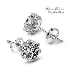 925 Sterling Silver+White Gold Filled AAA Grade CZ Stylish Crown Stud Earrings