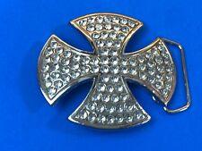 Clear Multi Rhinestone 4 side Silver tone Iron Cross  belt buckle