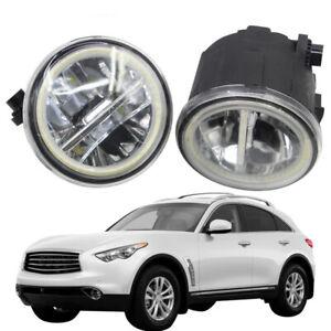 LED Fog Light + Angel Eye Rings Daytime Running Lights DRL Fit For Infiniti FX