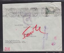SPAIN 1941 WWII GERMAN & SPANISH  CENSORED COVER SEVILLE TO BASEL SWITZERLAND