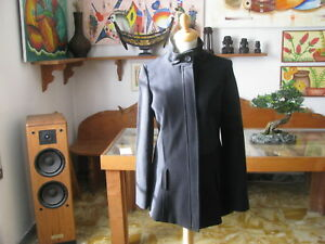 Women's Coat Without / Belt Black Zipper + Button, Size M Made IN Italy