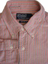 RALPH LAUREN POLO Shirt Mens 14.5 S Orange White Green & Blue Stripes CUSTOM FIT