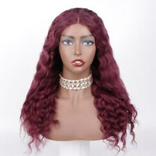 """Discount Sew In Lace Closure Wig Middle Part 16"""" #99j Deep Wave Soft Human Hair"""
