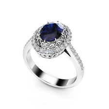 2ct Oval Blue Sapphire Engagement Ring 14k White Gold Finish Halo Filigree Style