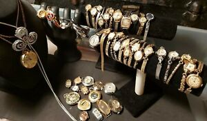 Womens Wristwatch Lot OF 48 All Wind Up Vintage And ANTIQUE