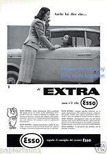 Esso Benzin Reklame von 1957 Italien Auto Autofahrerin Damen Werbung ad gas