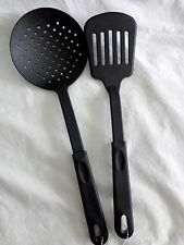 Cooking Utensils Set of 2 Round Strainer Spoon Slotted Spatula Black Plastic