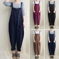 Mode Femme Coton Sans Manche Poche Casual en vrac Combinaison Pantalons Plus