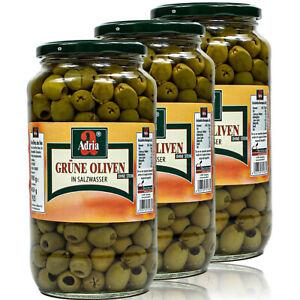 3 x Adria Grüne Oliven entsteint in Salzlake eingelegt im 900g Glas (ohne Stein)