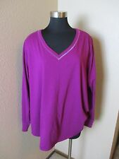 Cacique Simply Shirt Sleep Long Sleeve V-Neck Purple Size 26 28 NEW