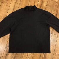 LL Bean Mens XL Reg Black Solid Long Sleeve Traditional Fit Turtle Neck Top