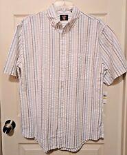 NWT Arrow Men's White Blue Khaki Button Down Short Sleeve Striped Top Shirt M