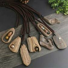 Retro Handmade Sandalwood Natural Stone Pendant Necklace Long Sweater Chain 2019