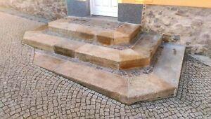 Treppenstufen 40er gebraucht gelb, Blockstufen, Granitstufen m. leichter Schräge