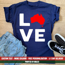 Ladies LOVE Australia T Shirt Womens Aussie Holiday Emigrate Birthday Gift Top