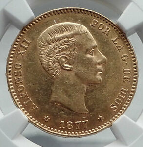 1877 SPAIN King ALFONSO XII Gold 25 Pesetas Antique Spanish Coin NGC AU58 i80931