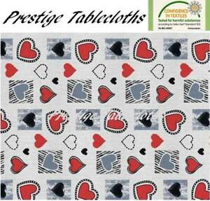 Modern Hearts PVC Vinyl Wipe Clean Tablecloth - ALL SIZES - Code: F1009-4