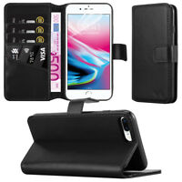 Apple iPhone 8 Plus Leather Case Flip Folio Wallet Card Slots Cover - Black