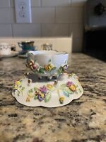 Antique Meissen Encrusted Flowers Demitasse Tea Cup And Saucer