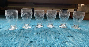 Set Of 6 Hawkes Floral Cut/Engraved Glass Footed Iced Tea Tumblers