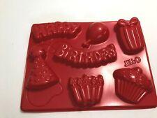 Jello Jiggler Happy Birthday Mold Form Gift Present Balloon Hat Candles Cupcake