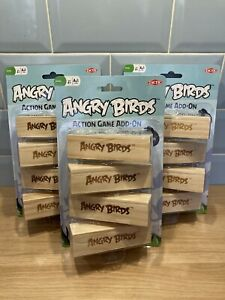 ANGRY BIRDS ACTION GAME ADD ON WOODEN BLOCKS - Brand New x3 Packs Kids Toys