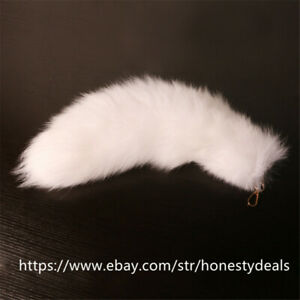 100% Real Genuine Fur Tail Keychain Bag Charm Handbag Accessories Cosplay Toy