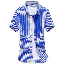 New Mens Luxury Casual Short Sleeve Striped Button Down Dress Shirts TUD162