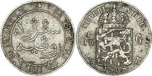 Netherlands East Indies: 1/10 Gulden silver 1908 - VF-