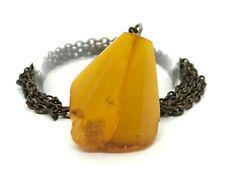 Old Vintage Natural Baltic Amber Pendant Egg Yolk Yellow Original Chain 15g 9751