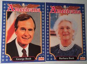 EDUCATIONAL FACTS 1992 Americana Trading Cards GEORGE BUSH #1 BARBARA BUSH #111