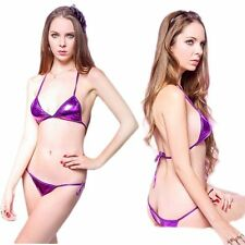 Ladies Sexy Metallic Purple Bikini Swimsuit Set Elasticated Ties One Size 8 - 12
