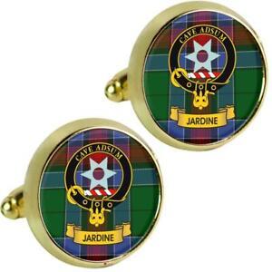 Mens Cufflinks Jardine Scottish Clan Crest Brass Finish Presentation Boxed