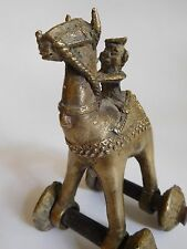 Antique Tribal Brass Metal Toy Man Riding A Camel
