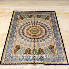 YILONG 4'x6' Blue Handmade Silk Carpet Home Decor Medallion Area Rug Z398A